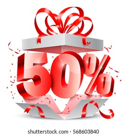 Opened gift box with 50 percent discount gift