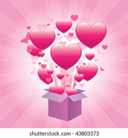 Opened gift box exploding with hearts on bursting pink background