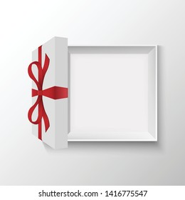Opened gift box with red bow, vector illustration