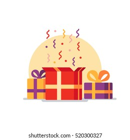 Opened gift box, surprise, celebration event, surprising gift boxes. Give presents concept. Flat design vector illustration