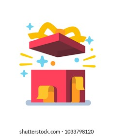 Opened gift box, surprise concept. Vector flat style