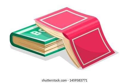 Opened inverted pink book is on closed green another. Not read to the end novel concept. Vector cartoon illustration for literary, educational, bookish projects isolated on white background.