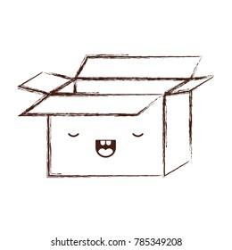 opened kawaii cardboard box in monochrome blurred silhouette