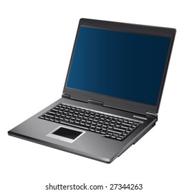 The opened laptop with the dark blue screen on a white background