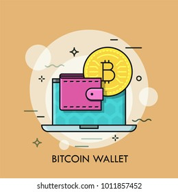 Opened laptop, golden bitcoin coin and money holder. Concept of cryptocurrency wallet, hot and cold storage of digital currency. Creative vector illustration in thin line style for web banner, ad.