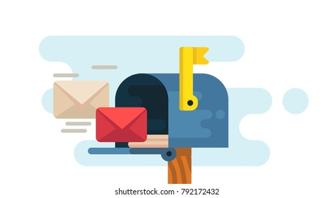 Opened mailbox with regular mail inside. Vector flat