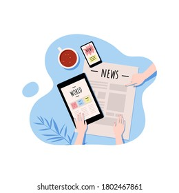 Opened newspaper, smartphone, tablet in female hands and coffee cup. Latest news, comment and analysis.