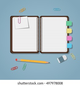 The tab for books images stock photos vectors shutterstock opened notebook with colored tabs clips and pencil fandeluxe Choice Image