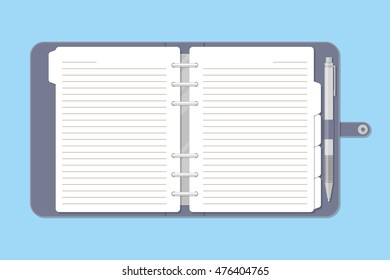 Opened notebook with pen in top view. Personal organizer or diary. Notepad for business and important notes. Blank pages. Vector illustration