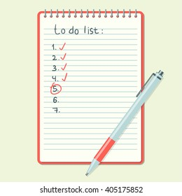 Opened notepad with notes and pen in top view. . Sketchbook or diary. Editable vector illustration