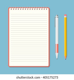 Opened notepad with pencil and pen in top view. Sketchbook or diary. Vector illustration