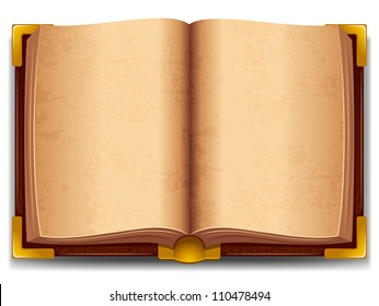 Opened old book in leather cover and with golden decoration.