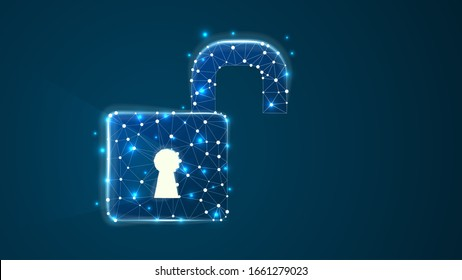 Opened padlock with long light shadow from the keyhole. Vector illustration consisting of points, lines, and shapes in the form of planets, stars, and the universe. Data security concept