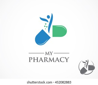 opened pill with people silhouette icon, hospital pharmacy, first help, ill, science, dietary, medicinal. flat style trend logotype brand design vector illustration on white background