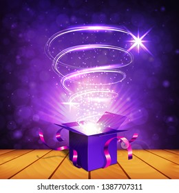 Opened purple gift box with crimson ribbons with magic light rays and emitted luminous spiral on the wooden table and on the purple bokeh background. Concept of magic. Vector illustration