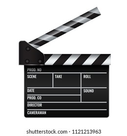 Opened realistic Cinema or film clapper. Illustrated vector.