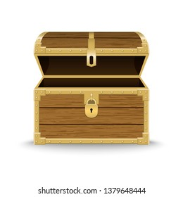 Opened realistic wooden chest