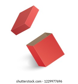 The Opened red box isolated on white background. Vector illustration