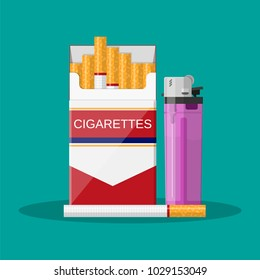 Opened red cigarette pack with cigarettes and red pocket lighter Cigarette box. Cigarette packet. Vector illustration in flat style