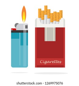 Opened red cigarette pack with cigarettes and blue pocket lighter Cigarette box.