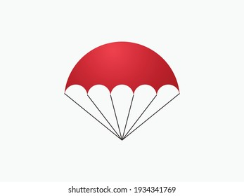 Opened red parachute. Free descent and flight in space delivery gifts and goods with sudden pleasant surprise vector help.