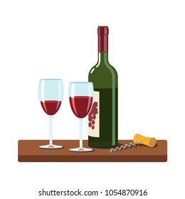 Opened red wine bottle, filled wine glasses and spiral corkscrew standing on a small wooden table. Shiny glass and green bottle. Flat vector illustration isolated on white background