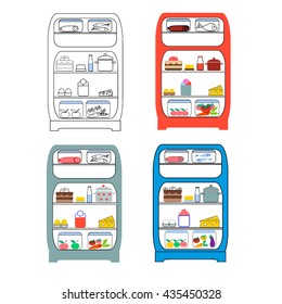 Opened refrigerator with food in a grotesque style. Fridge open, food and vegetable, fresh and ice cream, vector illustration
