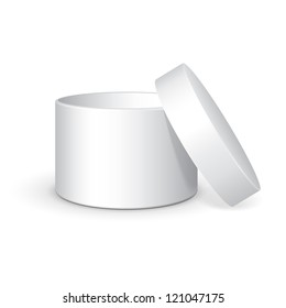 Opened Round Gift Box White Grayscale. On White Background Isolated. Ready For Your Design. Product Packing Vector EPS10