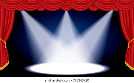opened stage with red curtain and three spotlights, vector background illustration