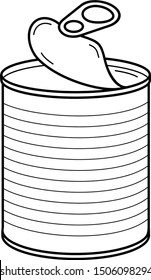 Opened tin can. Vector outline icon.