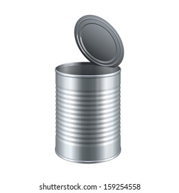 Opened Tincan Ribbed Metal Tin Can, Canned Food. Ready For Your Design. Product Packing Vector EPS10
