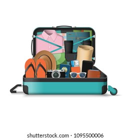 Opened travel suitcase full of things for summer vacation. Vector illustration isolated on white background