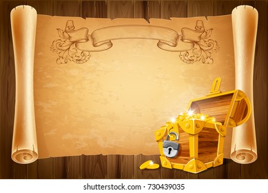 Opened treasure chest and ancient paper scroll on wooden background. Concept of travel and adventure. Vector illustration.