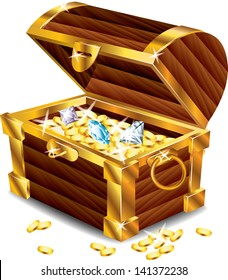opened treasure chest with treasures photo-realistic vector