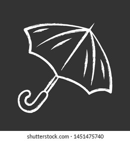 Opened umbrella chalk icon. Bad, rainy, stormy weather water protection. Fashionable travel accessory. Carryon sunshade, parasol. Convenient trip equipment. Isolated vector chalkboard illustration