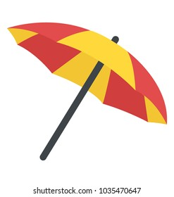 An opened umbrella, parasol flat icon