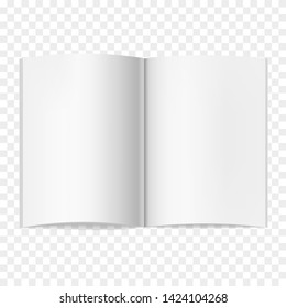 Opened vector realistic book, journal or magazine mockup with sheet of A4. Blank open pages of sketchbook or notebook template for catalog, brochure design