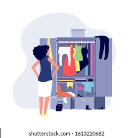 Opened wardrobe. Girl stand front closet. Stack clothes on floor, fashion problems and chaos. Organisation dressing vector illustration