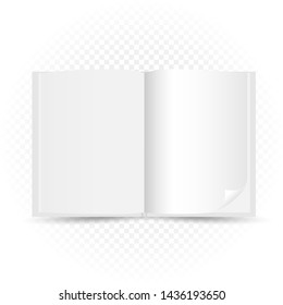 Opened white book template with shadow on transparent background. Read open magazine