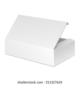 Opened White Cardboard Package Box. Gift Candy. On White Background Isolated. Mock Up Template Ready For Your Design. Product Packing Vector EPS10