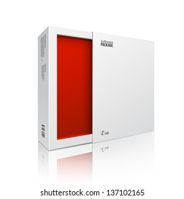 Opened White Modern Software Package Box Red Inside For DVD, CD Disk Or Other Your Product EPS10