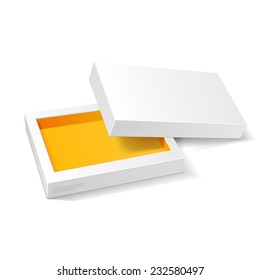 Opened White Orange Yellow Cardboard Package  Mock Up Box. Gift Candy. On White Background Isolated. Ready For Your Design. Product Packing Vector EPS10