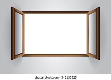Opened window with blank scene, vector EPS10.