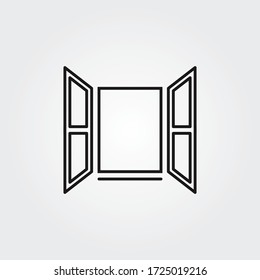 Opened window icon. Vector creative symbol in linear style