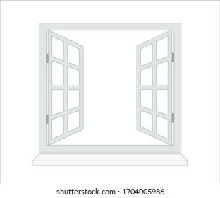 Opened window. Vector image. Icon.