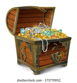 Opened wooden chest with treasures