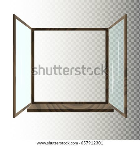 Opened wooden window isolated on white / transparent background. Flat vector illustration of window frame.