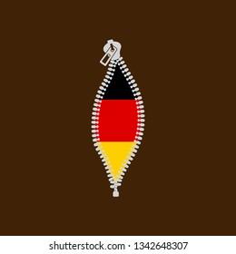 Opened zipper revealing flag of Deutschland , Germany