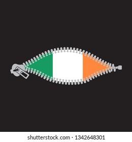 Opened zipper revealing flag of Ireland