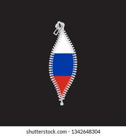 Opened zipper revealing   flag  of Russian Federation